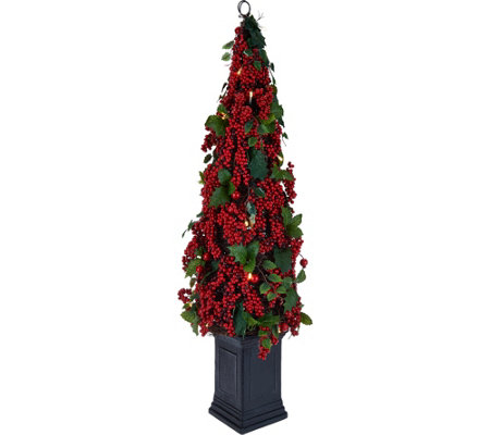 """As Is"" 33"" Illuminated Red Berry & Holly Potted Tree by Valerie"