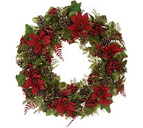 "20"" Glittered Poinsettia Wreath by Valerie - H216321"