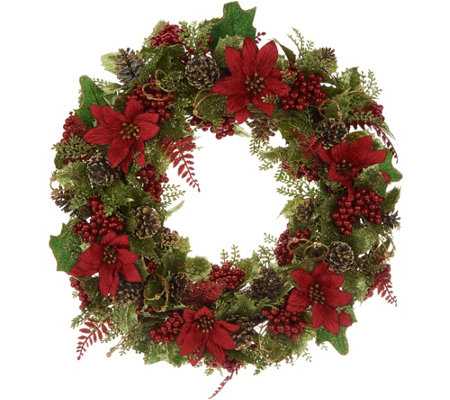 "20"" Glittered Poinsettia Wreath by Valerie"