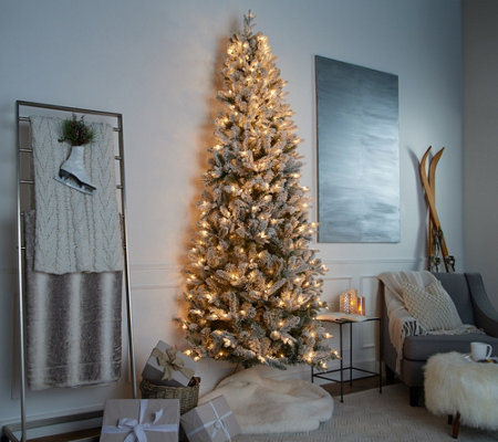 Half Christmas Tree.Casa Zeta Jones 9 Green Or Flocked Prelit Half Christmas Tree Qvc Com