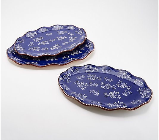 Temp-tations Floral Lace Set of 3 Fluted Platters