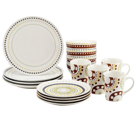 Rachael Ray Circles and Dots 16-piece StonewareDinnerware Set