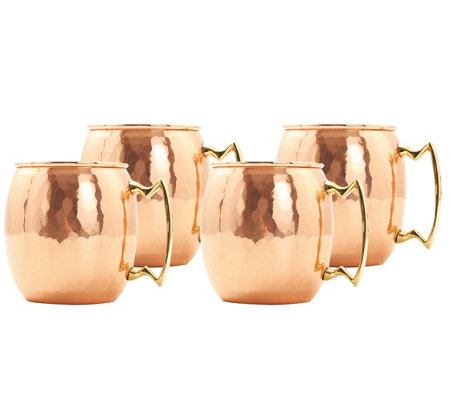 Old Dutch Set of 4 Hammered Solid Copper Moscow Mule Mugs