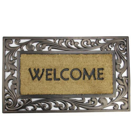"Northlight ""Welcome"" Rubber and Coir Scroll Door Mat"
