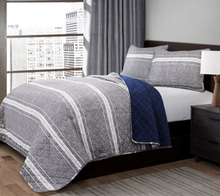 Marlton Stripe Gray 3-Piece King Quilt Set by Lush Decor
