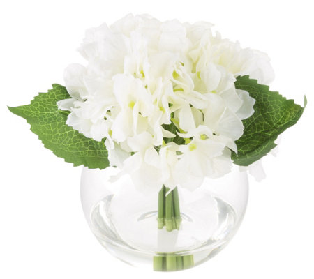 White Hydrangea Artificial Flowers with Vase byPure Garden