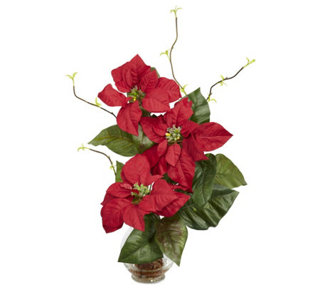 Poinsettia Fluted Vase Flower Arrangement By Nearly Natural