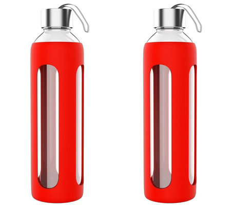 Classic Cuisine Set of (2) 20-oz Glass Water Bottles - Red