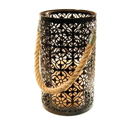 LumaBase Jacquard Metal Lantern with LED Flameless Candle