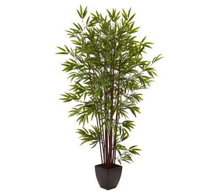6 Bamboo Silk Tree With Planter By Nearly Natural