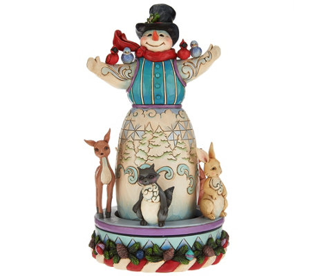 Jim Shore Heartwood Creek Snowman with Spinning Animal Scene