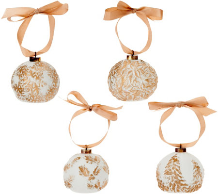 Lightscapes S/4 Illuminated Porcelain Embossed Ornaments