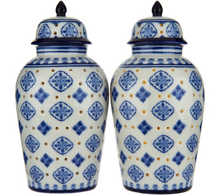 "Set of (2) Lit 7"" Medallion Porcelain Ginger Jars by Valerie"