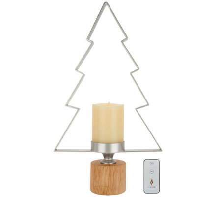 "Luminara Metal Tree Candle Holder w/5"" Pillar & Remote"