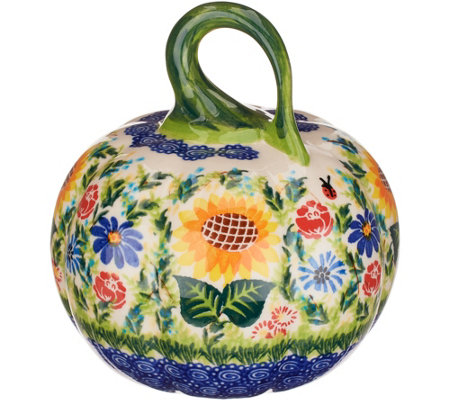 Lidia S Polish Pottery Hand Painted Figural Pumpkin
