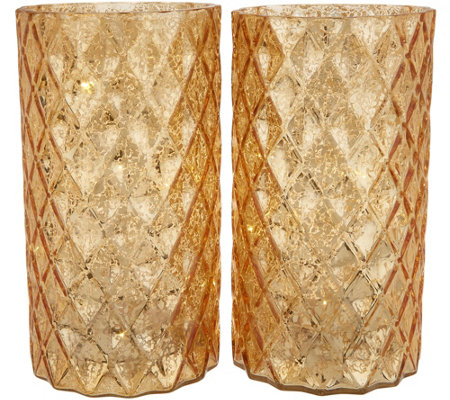 "Set of (2) 9"" Quilted Glass Pillars with Microlights by Valerie"