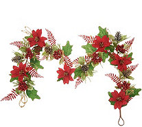4' Glittered Poinsettia Garland by Valerie - H216322