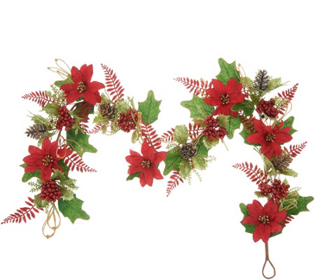 4' Glittered Poinsettia Garland by Valerie