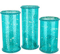 Set of 3 Illuminated Mercury Glass Hurricanes by Valerie - H216922