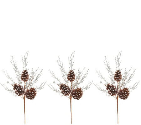 "Martha Stewart Set of (3) 18"" Metallic Woodland Pinecone Picks"