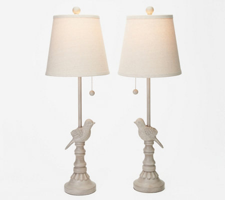 Set of 2 Bird Design Buffet Lamps with Shades by Valerie