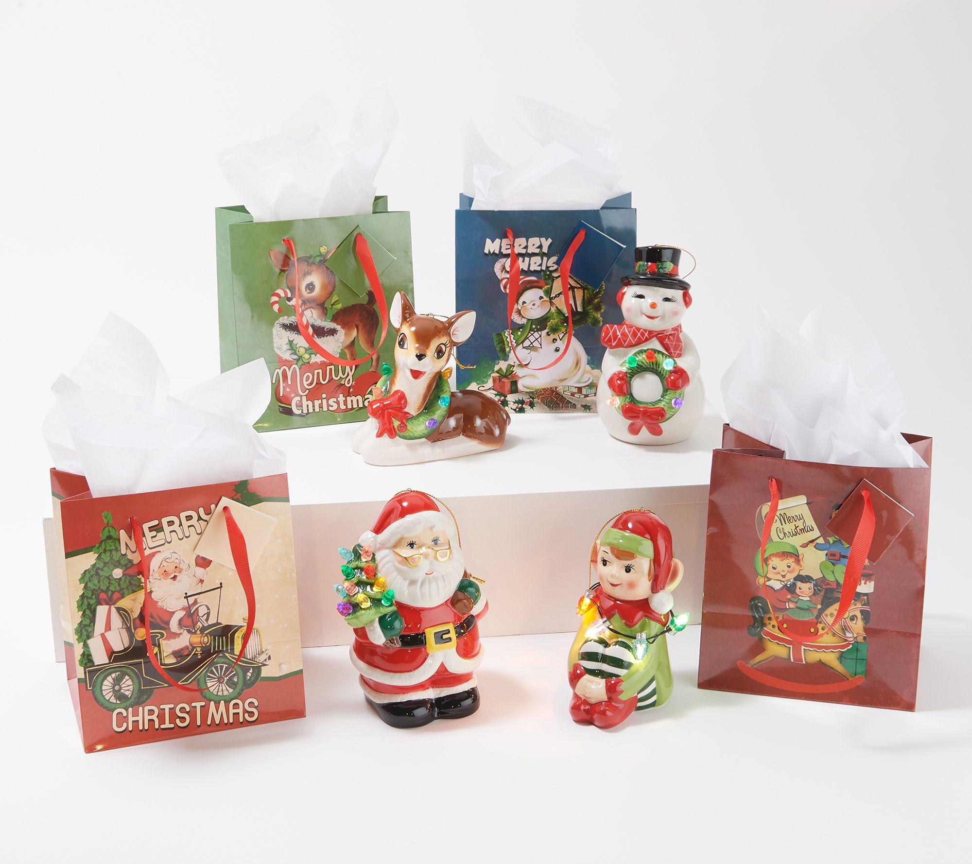 Mr Christmas Set Of 4 Lit Nostalgic Holiday Figures W Bags White Qvc Com
