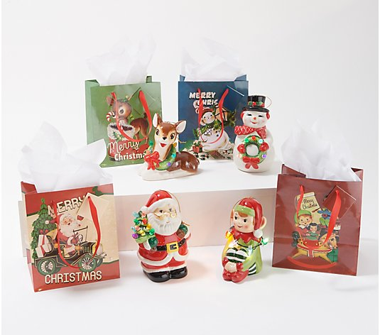 Mr. Christmas Set of 4 Lit Nostalgic Holiday Figures w/ Bags - White