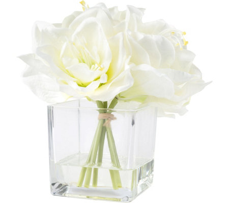 Pure Garden Cream Lily Floral Arrangement withGlass Vase