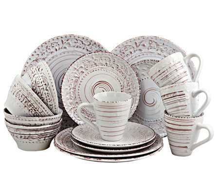 Elama Malibu Sands 16-Piece Dinnerware Set - Shell