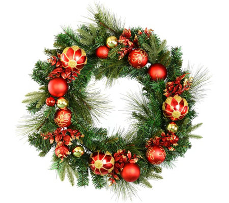 "30"" Mixed Wreath with Shatterproof Ornaments byVickerman"