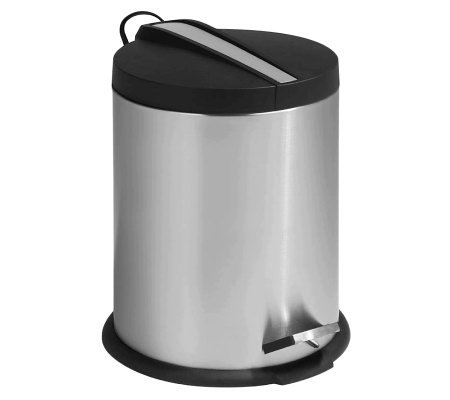 Honey-Can-Do Two-Tone Stainless Steel Round 5LStep Trash Can