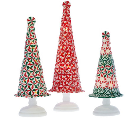 Set of 3 Illuminated Peppermint Trees by Valerie