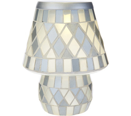 """As Is"" Glass Tile Diamond Pattern Battery Operated Lamp by Valerie"