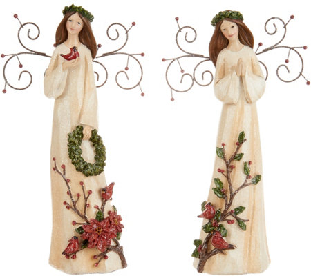 Set of 2 Embossed Angel Figurines with Metal Wings by Valerie