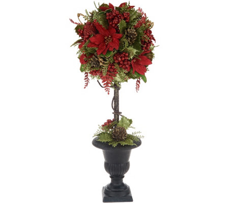 Glittered Poinsettia Ball Topiary in Urn by Valerie