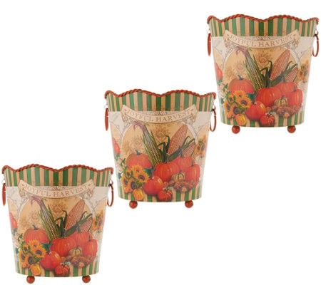 Set of 3 Harvest Metal Planter Baskets by Valerie