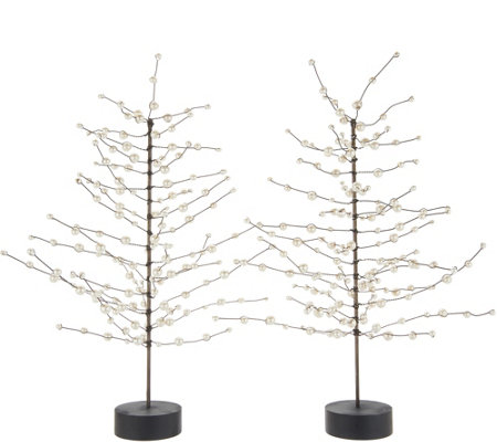 "Martha Stewart Set of (2) 16"" Pearl Bead Trees"