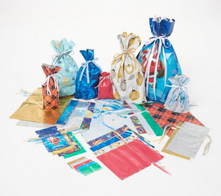 Kringle Express 52-piece Drawstring Gift Bag Set with Gift Tags