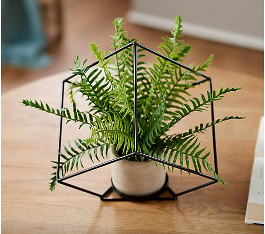 Natural Touch Potted Fern Plant in Metal Cube by Valerie