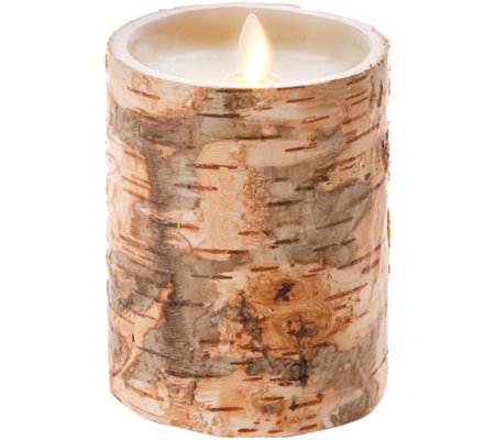 "Luminara 5"" Birch Bark Wax Flameless Candle"