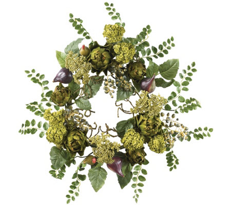 "20"" Artichoke Floral Wreath by Nearly Natural"