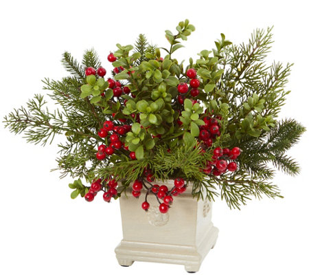 Holiday Berry and Pine Arrangement by Nearly Natural
