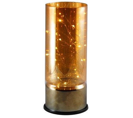 LumaBase Glass Amber Lantern Filled w/ Mini LEDString Lights