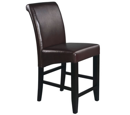 "24"" Parsons Bar Stool in Espresso Faux Leatherby Office Star"