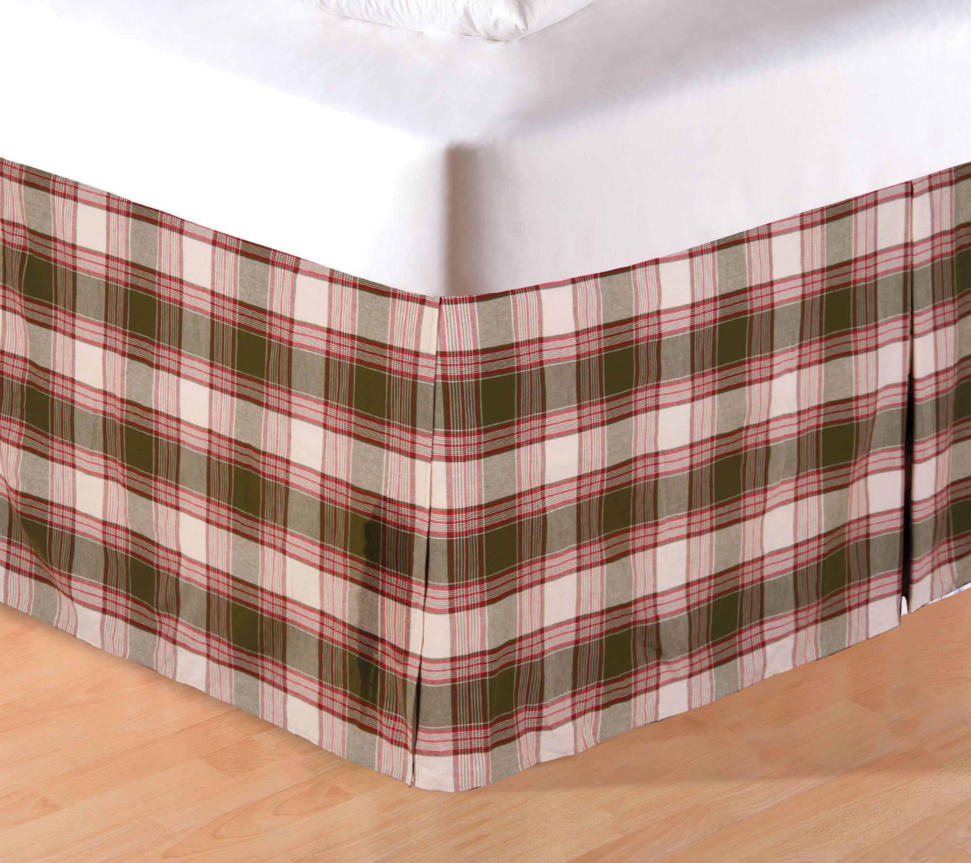 C F Home Chickadee Plaid Twin Bed Skirt Qvc Com