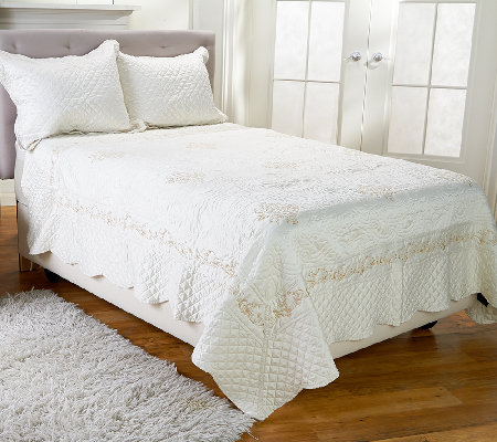 Dennis Basso 3pc Embroidered Matte Satin FL/QN Coverlet & Sham Set