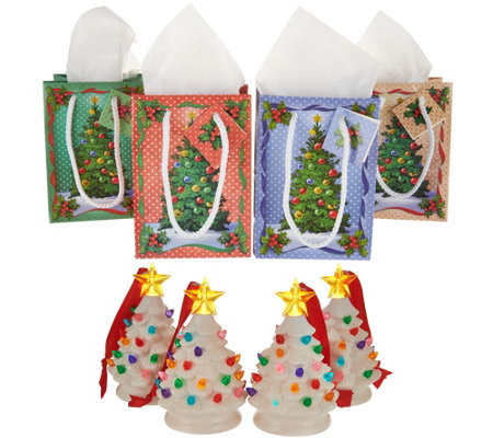 Mr. Christmas Set of 4 Mini Nostalgic Tree Ornaments with Gift Bags