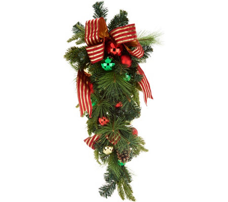 "36"" Ornament, Ribbon and Pine Decorative Teardrop by Valerie"