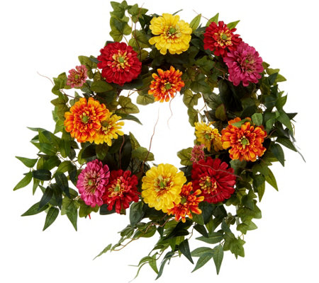 "24"" Zinnia Blossom Wreath by Valerie"