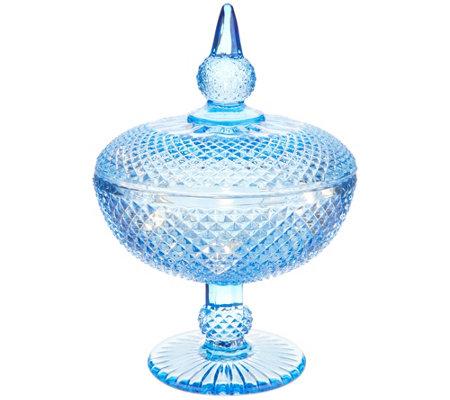 Casa Zeta Jones 8 5 Glass Cut Apothecary Jar With Microlights